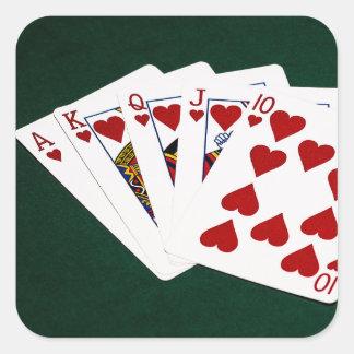 Sticker Carré Mains de poker - quinte royale - costume de coeurs