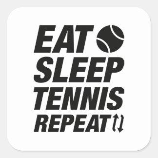 Sticker Carré Mangez la répétition de tennis de sommeil