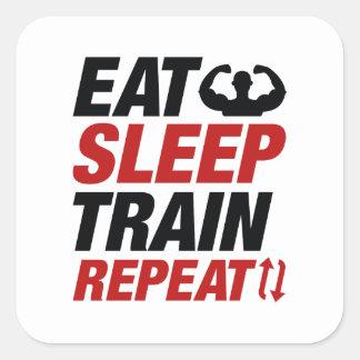 Sticker Carré Mangez la répétition de train de sommeil
