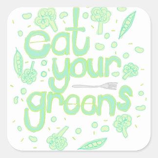 Sticker Carré mangez vos verts