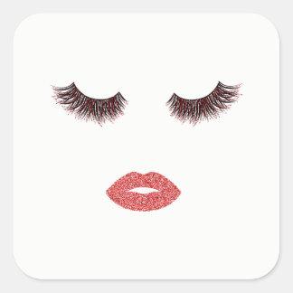 Sticker Carré Maquillage avec l'effet de parties scintillantes