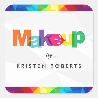 Sticker Carré Maquilleur coloré moderne de lèvres de typographie