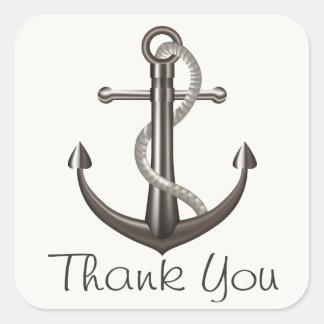 Sticker Carré Mariage de plage nautique d'ancre de bateau de