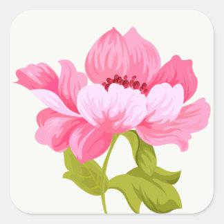 Sticker Carré Mariage floral de fleur de pivoines de rose