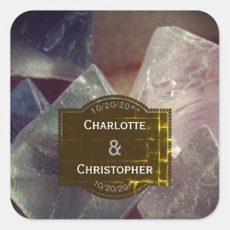 Sticker Carré Mariage personnalisé par pierre gemme de fluorine