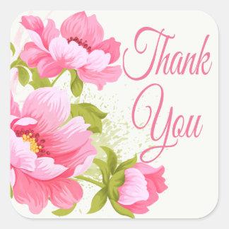 Sticker Carré Mariage rose floral de fleur de pivoines de Merci