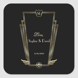 Sticker Carré Mariage royal de monogramme d'art déco d'or