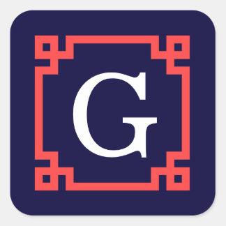 Sticker Carré Marine, monogramme principal grec rouge de corail