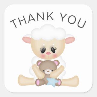 Sticker Carré Merci d'agneau mignon et d'ours de nounours