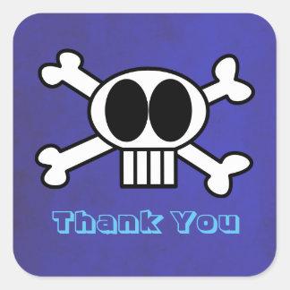 Sticker Carré Merci de crâne mignon et d'os croisés