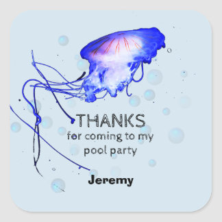 Sticker Carré Merci de méduses de réception au bord de la