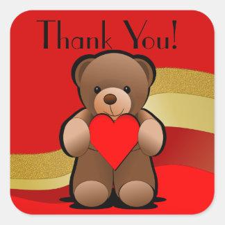 Sticker Carré Merci d'ours et de coeur de nounours