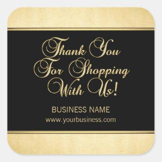 Sticker Carré Merci pour faire des emplettes avec nous noir d'or