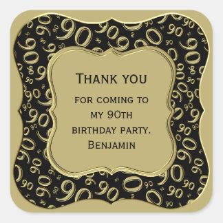 Sticker Carré Merci - quatre-vingt-dixième noir d'anniversaire