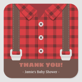 Sticker Carré Merci rouge de baby shower de plaid de garçon de