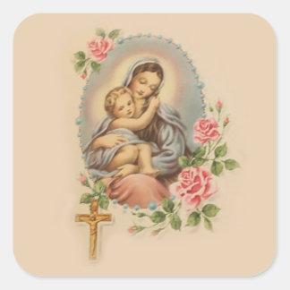 Sticker Carré Mère Mary de Vierge et chapelet et roses de Jésus