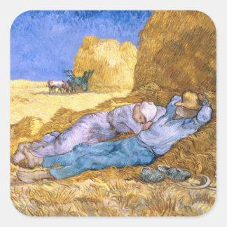 Sticker Carré Midi de Vincent van Gogh |, la sièste, après