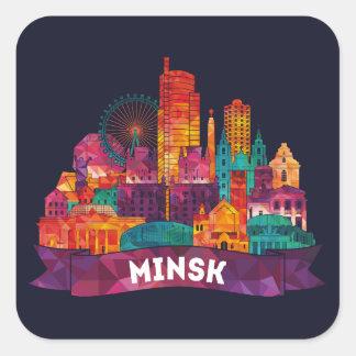 Sticker Carré Minsk - voyage aux points de repère célèbres