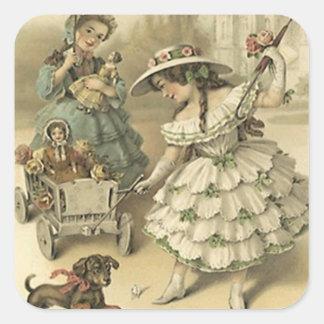Sticker Carré Mode victorienne vintage d'animal familier et de