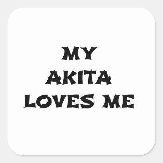 Sticker Carré mon akita m'aime