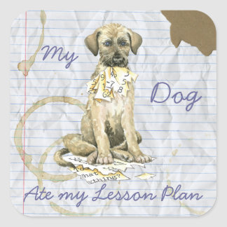 Sticker Carré Mon chien-loup irlandais a mangé mon plan de cours
