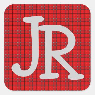 Sticker Carré Monogramme initial nommé noir gris rouge de motif