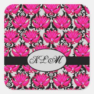 Sticker Carré Monogramme parisien gris noir rose fuchsia de