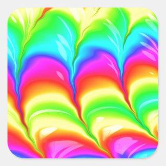 Sticker Carré Motif du résumé 3D coloré par arc-en-ciel