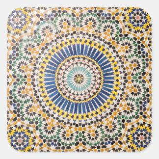 Sticker Carré Motif géométrique de tuile, Maroc