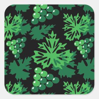 Sticker Carré motif sans couture de feuille avec des raisins