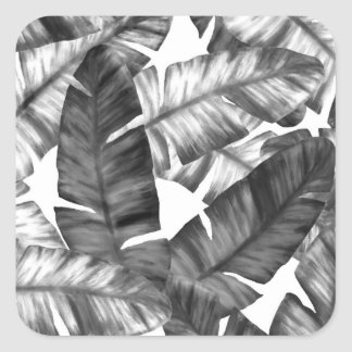 Sticker Carré Motif tropical noir et blanc de feuille de banane