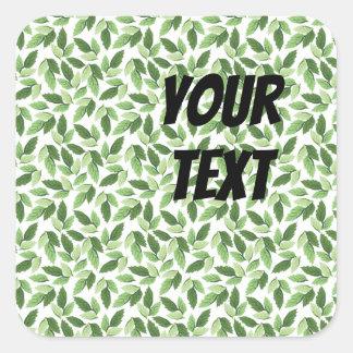 Sticker Carré Motif vert de feuille de personnaliser