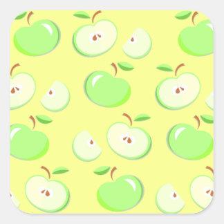 Sticker Carré Motif vert de fruit de pommes