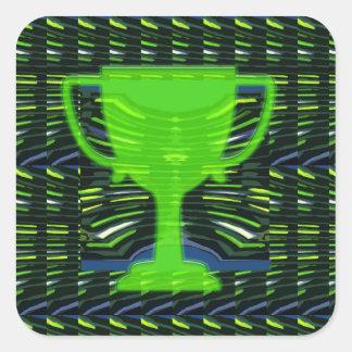 Sticker Carré Motivation verte de gagnant de tasse de trophée de