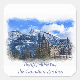 Sticker Carré Mt Rundle et hôtel, Banff, Alta, Canada
