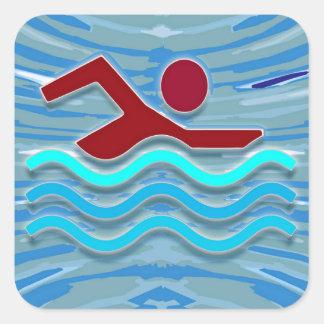 Sticker Carré Natation de la forme physique NVN254 d'exercice de