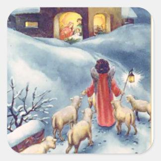 Sticker Carré Nativité vintage de berger d'ange de Noël