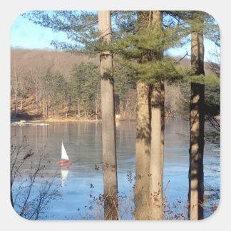 Sticker Carré Navigation de glace sur le lac ---