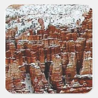 Sticker Carré neige et glace dans le formationsf de roche
