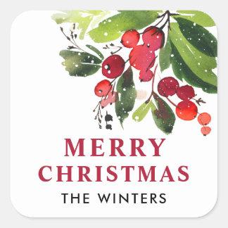 Sticker Carré Noël d'aquarelle du Joyeux Noël | floral