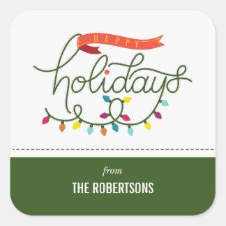 Sticker Carré Noël lumineux personnalisé de vacances