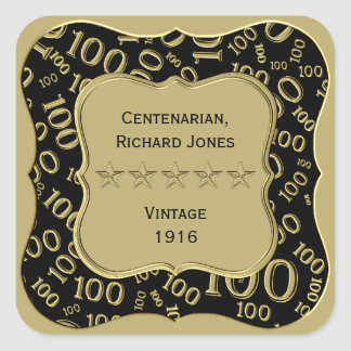 Sticker Carré Noir d'anniversaire de Centenarian 100th et thème