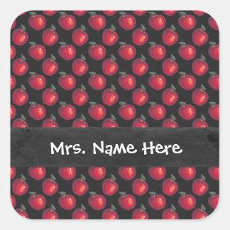 Sticker Carré Noir rouge de pommes