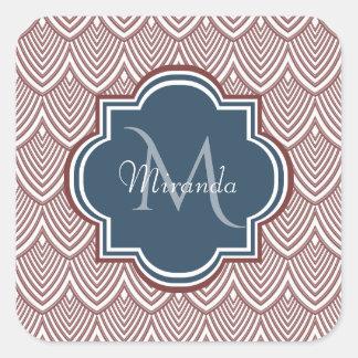 Sticker Carré Nom rouge foncé de monogramme de bleu marine de