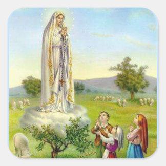 Sticker Carré Notre Madame des moutons d'enfants de Fatima