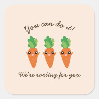 Sticker Carré Nous enracinons pour vous les carottes d'une