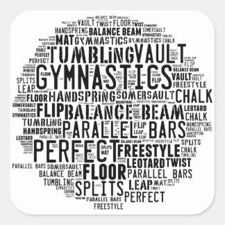 Sticker Carré Nuage de mot de gymnastique dégringolant