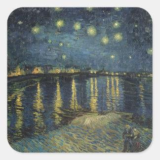 Sticker Carré Nuit étoilée de Vincent van Gogh | au-dessus du