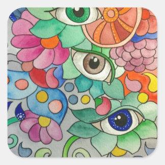 Sticker Carré Oeils en couleur