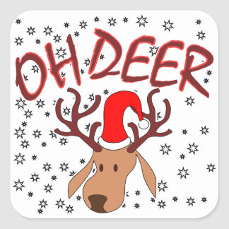 """Sticker Carré """"Oh la conception de cerfs communs"""" avec des cerfs"""